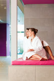 Young couple in bathrobe in Spa Stock Images