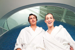 Young couple in bathrobe in Spa Royalty Free Stock Photos