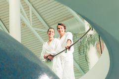 Young couple in bathrobe in Spa Royalty Free Stock Images