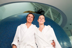 Young couple in bathrobe in Spa Stock Photos