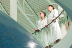 Young couple in bathrobe in Spa Royalty Free Stock Photography