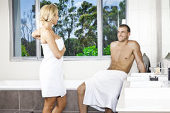 Young couple in bathroom Royalty Free Stock Images