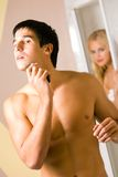 Young couple at bathroom Stock Photo