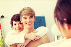 Young couple at bathroom. Royalty Free Stock Images