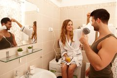 Young couple in the bathroom Stock Photo