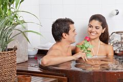 Young Couple In Bathtub Stock Photos