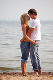 Young couple on beach Royalty Free Stock Photo