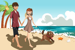 Young couple on the beach. A vector illustration of a young couple walking on the beach with their dog Royalty Free Stock Images