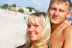 Young couple on beach Royalty Free Stock Photography