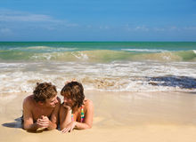 Young couple beach Stock Photography