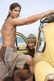 A young couple on a beach Stock Photo