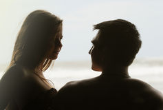Young couple on a beach Stock Image