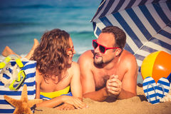 Young couple on the beach Royalty Free Stock Images