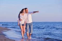 Young couple  on beach have fun Stock Photo