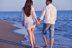Young couple  on beach have fun Stock Photography