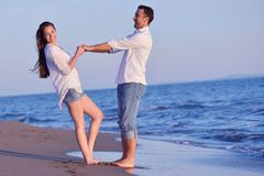 Young couple  on beach have fun Royalty Free Stock Image