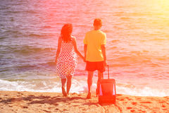 Young couple at the beach Royalty Free Stock Images