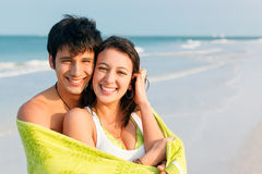 Young Couple on Beach Stock Photography