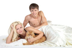 Young couple in bed Royalty Free Stock Photo