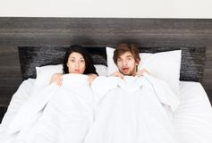 Young couple bed royalty free stock photos