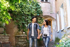 Young couple being tourists exploring an old town stock image