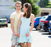 Young couple with bike Stock Photos
