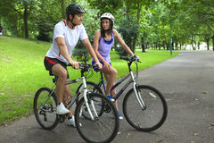 Young couple on bike trip Royalty Free Stock Photo