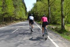 Spring bike riding through tree avenue. Young couple on bikes riding through tree avenue during beautiful spring day royalty free stock photos