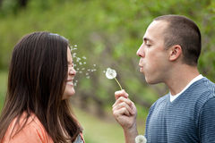 Young Couple Blowing Dandelions Royalty Free Stock Photo