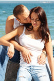 Young couple in blue jeans stock photography