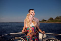 Young couple on the boat Royalty Free Stock Images