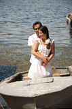 A young couple in a boat Royalty Free Stock Photography