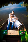 Young couple on boat Stock Photography