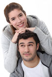 Young couple in grey Royalty Free Stock Photography