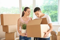 Young couple with box and houseplant indoors. Moving into new house stock photos