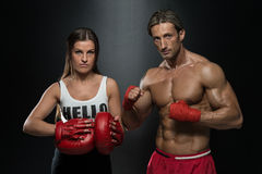A Young Couple Boxing For Fitness Royalty Free Stock Images