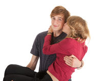 Young couple, boyfriend carrying girl in his arms Stock Images