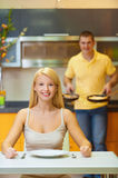 Young couple at breakfast Stock Photo