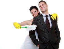Young couple bride groom household chores isolated Royalty Free Stock Photo