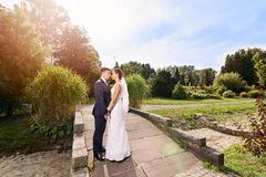 Young couple on the bridge in the park. Stock Images