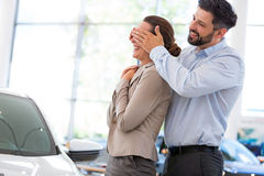 Young couple buying a car Stock Photo