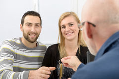 A young couple buys a house Stock Images