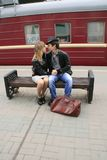 Young Couple By Train Stock Photography