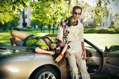 Young couple in cabriolet Stock Image