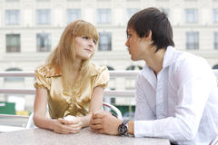 Young couple in cafe royalty free stock photo