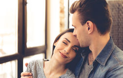 Young couple in cafe Stock Photos