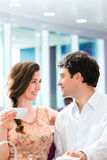 Young couple cafe drinking coffee Royalty Free Stock Images