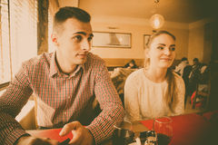Young couple in a cafe Royalty Free Stock Photography