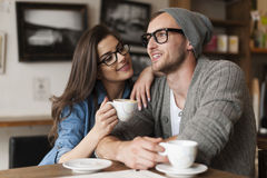 Young couple at cafe Royalty Free Stock Images