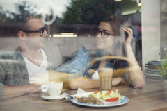 Young couple at cafe Royalty Free Stock Photography